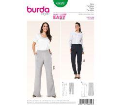 Střih Burda 6859 - Kalhoty s gumou v pase pro plnoštíhlé