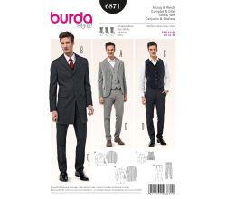 Strih Burda 6871 - Pánsky oblek - sako, vesta, nohavice s pukmi