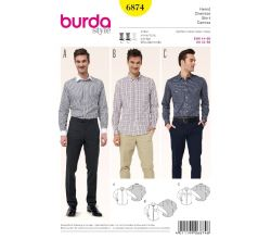 Strih Burda 6874 - Pánska košeľa, košeľa so skrytým zapínaním