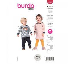 Strih Burda 9273 - Šatičky a tričko pre bábätko - kombinácia 2 strihy