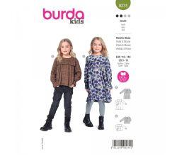 Strih Burda 9274 - Dievčenské šatičky a blúzku so sedlom