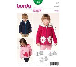 Střih Burda 9425 - Dětská mikina na zip s kapucí, bunda