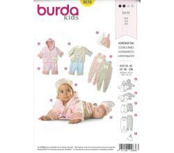 Střih Burda 9636 - Kabátek s kapucí, mikinka, tepláčky, dupačky, čepička