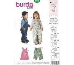 Střih Burda 9772 - Dětský top, kalhoty a laclové kalhoty