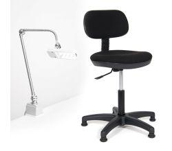 Sada stoličky a LED lampy pre šijacie dielňu TEXI COMFY M