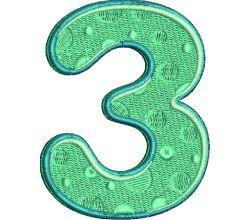 Výšivka číslice 3 - varianta 1