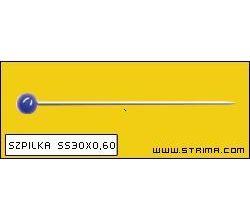 Špendlík oceľový, sklenená hlavička 30x0,6mm, 1000ks